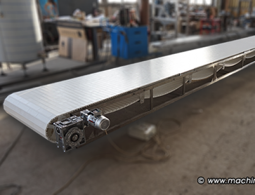 Straight line conveyor with a module belt from Habasit, designed for transportation of ice-cream at 25° C